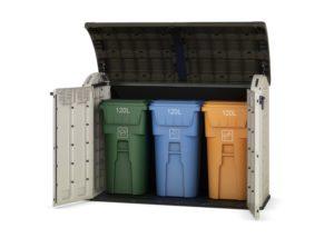 cache poubelle 3 compartiments